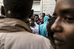 Refugees blocked in Como near the Swiss border Stock Photography
