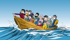 Refugees in a boat in the middle of the sea. Royalty Free Stock Images