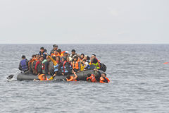 Refugees in boat at sea Lesvos Greece Stock Photos
