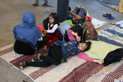 Refugees in Budapest, Hungary. Refugees camp near Keleti rail station in Budapest, Hungary, 2nd September 2015 Royalty Free Stock Photos