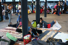 Refugees in Budapest, Hungary. Refugees camp near Keleti rail station in Budapest, Hungary, 2nd September 2015 Stock Photos