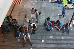 Refugees in Budapest, Hungary. Refugees camp near Keleti rail station in Budapest, Hungary, 2nd September 2015 Stock Images