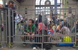 Refugees in Budapest, Hungary. Refugees camp near Keleti rail station in Budapest, Hungary, 2nd September 2015 Royalty Free Stock Photo