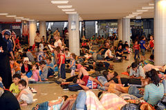Refugees in Budapest, Keleti Railway Station Royalty Free Stock Photography