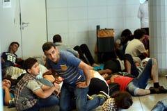 Refugees in Budapest, Keleti Railway Station Royalty Free Stock Photos