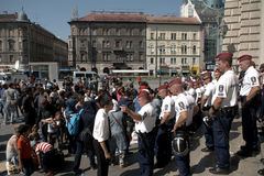 Refugees in Budapest, Keleti Railway Station Stock Photos