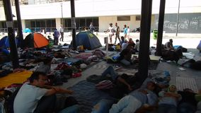 Refugees in Budapest, Keleti Railway Station stock video footage
