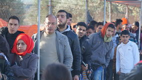 Refugees in the camp Stock Photo