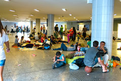 Refugees camping at the Keleti Train station in Budapest Royalty Free Stock Image