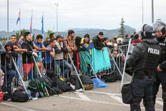 Refugees at closed slovenian border Royalty Free Stock Images