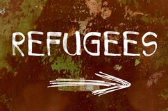 Refugees concept over old painted wall Royalty Free Stock Image