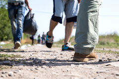 Refugees crossing the border from Serbia to Croatia in Tovarnik. TOVARNIK, CROATIA - SEPTEMBER 19: Refugees walk across the border from Serbia to Croatia on Stock Photography