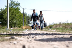 Refugees crossing the border from Serbia to Croatia in Tovarnik Royalty Free Stock Photo