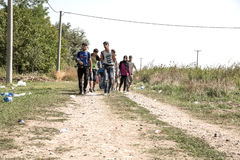Refugees crossing the border from Serbia to Croatia in Tovarnik Stock Photo