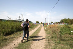 Refugees crossing the border from Serbia to Croatia in Tovarnik Royalty Free Stock Images