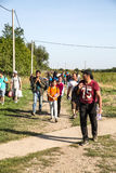 Refugees crossing the border from Serbia in Tovarnik Stock Photo