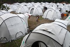 Refugees. Dozens of tents set up to accommodate refugees from mount merapi eruption Royalty Free Stock Photography