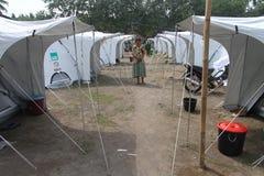 Refugees. Dozens of tents set up to accommodate refugees from mount merapi eruption Royalty Free Stock Image