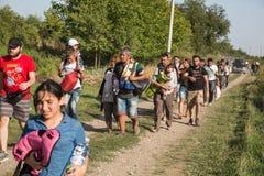 Refugees entering Croatia Stock Images