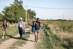 Refugees entering Croatia Royalty Free Stock Photos