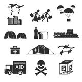 Refugees evacuee concept. War victims black icons. Set. Bombing and help, humanitarian aid and evacuation, vector illustration Royalty Free Stock Photography
