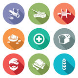 Refugees and fighting Icons Set. Vector Illustration. Stock Photos