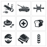 Refugees and fighting Vector Icons Set Stock Images