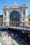 Refugees in front of the Keleti Train station in Budapest Royalty Free Stock Photos