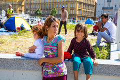 Refugees in front of the Keleti Trainstation in Budapest Royalty Free Stock Images