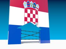 Refugees go to home icon textured by croatia flag Stock Photography