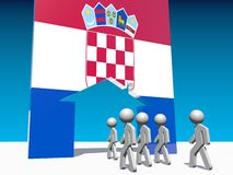 Refugees go to home icon textured by croatia flag Royalty Free Stock Photos
