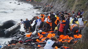 Free Refugees Had Just Arrived To The Shore Stock Photo - 65352300