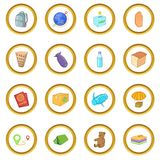 Refugees icons circle. Gold in cartoon style isolate on white background vector illustration Stock Photography