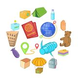 Refugees icons set, cartoon style. Refugees icons set. Cartoon illustration of 16 refugees vector icons for web Royalty Free Stock Photos