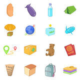 Refugees icons set, cartoon style. Refugees icons set. Cartoon illustration of 16 refugees vector icons for web Stock Photos