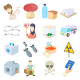 Refugees icons set, cartoon style Royalty Free Stock Photos