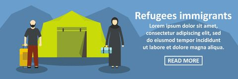 Refugees immigrants banner horizontal concept. Flat illustration of refugees immigrants banner horizontal vector concept for web royalty free illustration