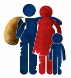 Refugees, immigrants, illegal immigrants, reception centers, families. Family of refugees in exodus with their own belongings stock illustration