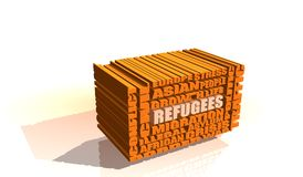 Refugees integrated in 3d relative tags cloud Royalty Free Stock Photo