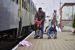 Refugees leaving Hungary Royalty Free Stock Image