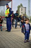 Refugees leaving Hungary Stock Photography