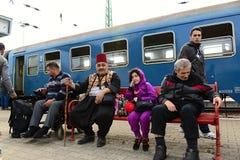 Refugees leaving Hungary Stock Photo