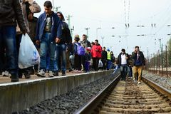Refugees leaving Hungary Royalty Free Stock Photography