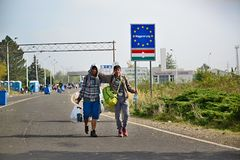 Refugees leaving Hungary Stock Image