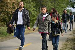 Refugees leaving Hungary Stock Photos