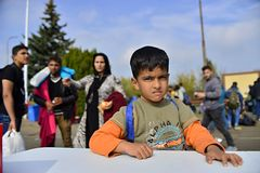 Refugees leaving Hungary Stock Images