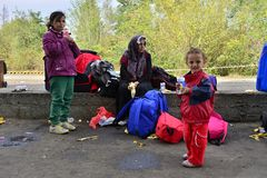Refugees leaving Hungary Royalty Free Stock Images
