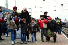 Refugees leaving Hungary. October 6,2015; Hegyeshalom in Hungary. Group of refugees leaving Hungary. They came to Hegyeshalom by train and then they leaving Stock Photo