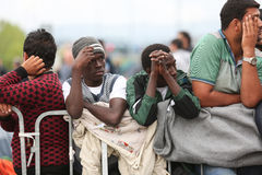 Refugees lined up at slovenian border Stock Image