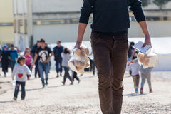 Refugees  living in tents in the center relocation Diavata Stock Photography